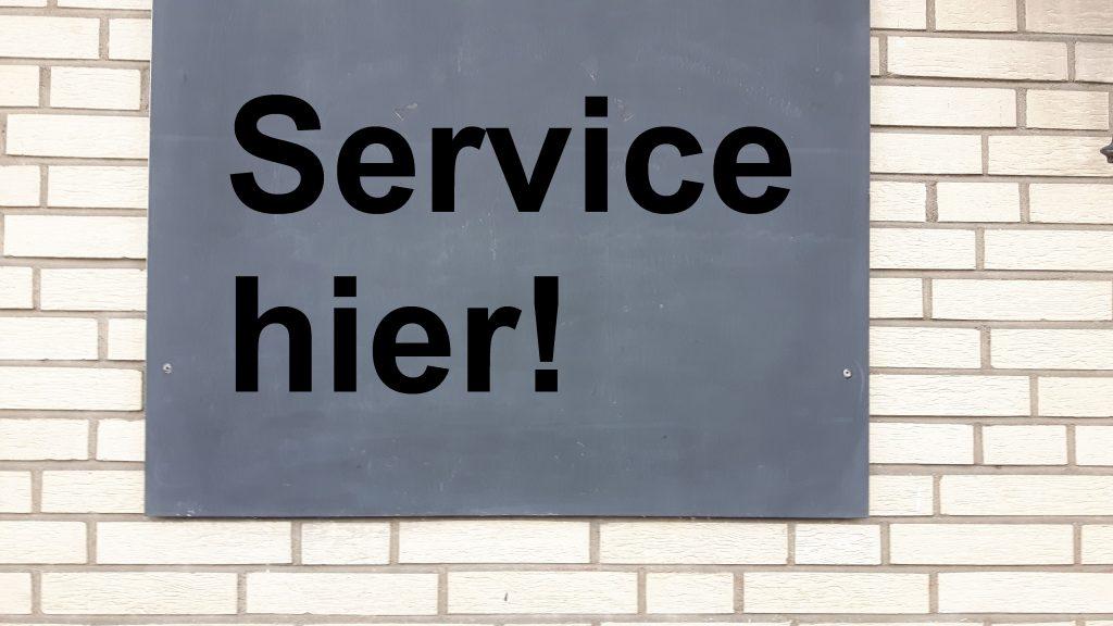 Tafel für Aufschrift mit Service